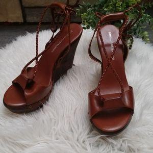 Diane Von Furstenberg ankle wrap wedge sandals